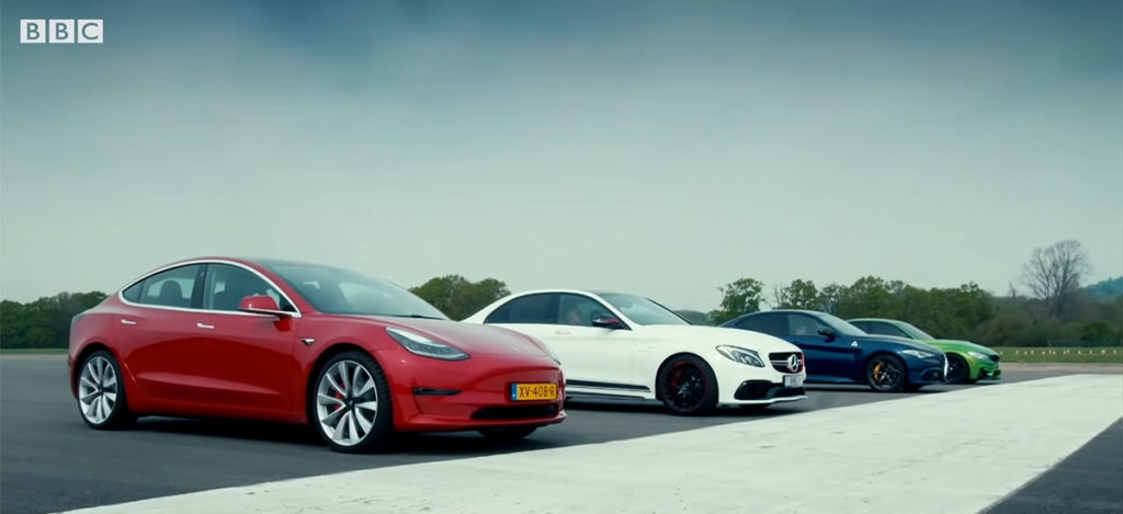 Tesla Model 3 drag race against Mercedes AMG C63 S, BMW M3 & Alfa Giulia QV