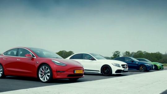 Tesla Model 3 drag race against Mercedes AMG C63 S, BMW M3 & Alfa Giulia QV