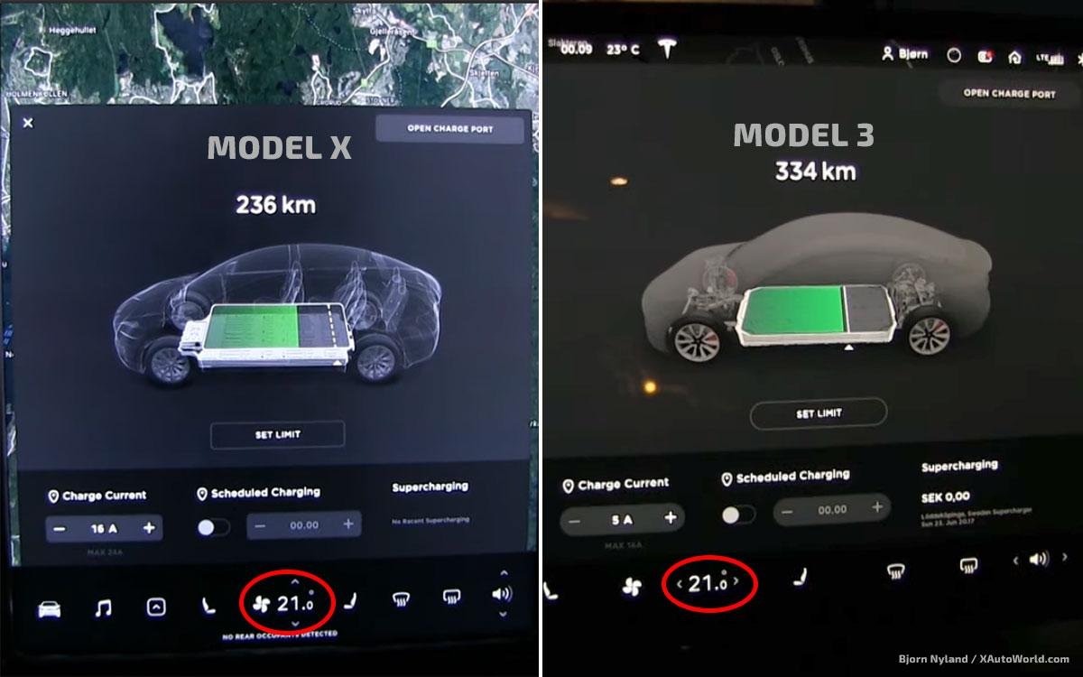 Tesla Model X and Tesla Model 3 set to 21℃ internal temperature.