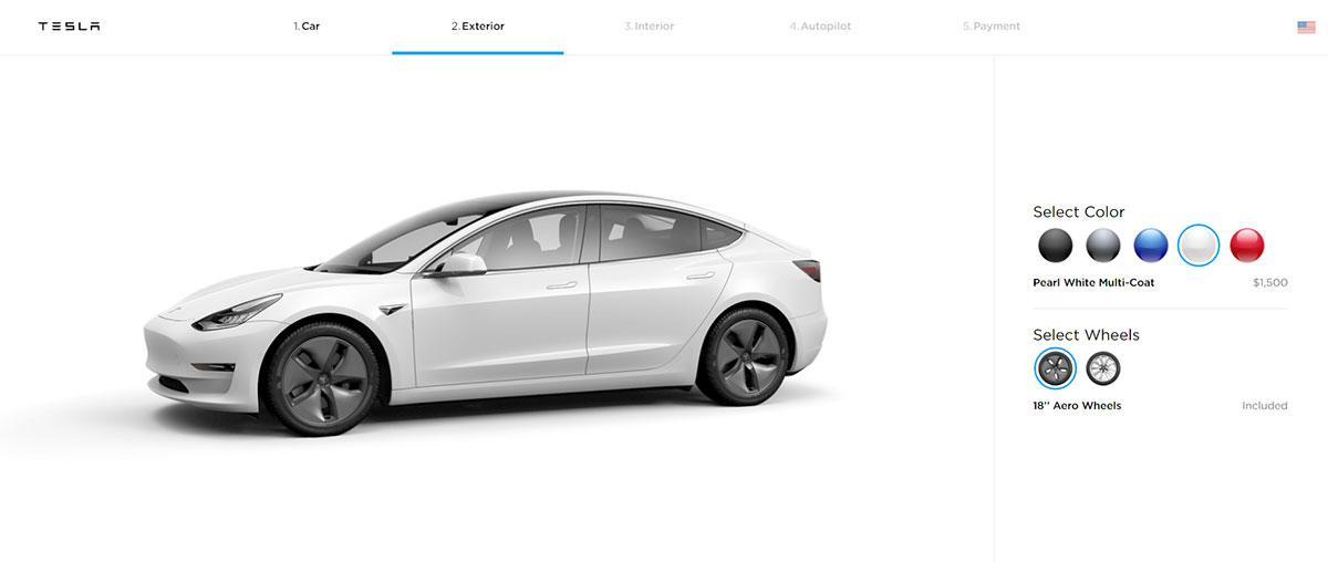 Tesla Model 3 configurator screenshot showing 'Pearl White Multi-Coat' color selected.