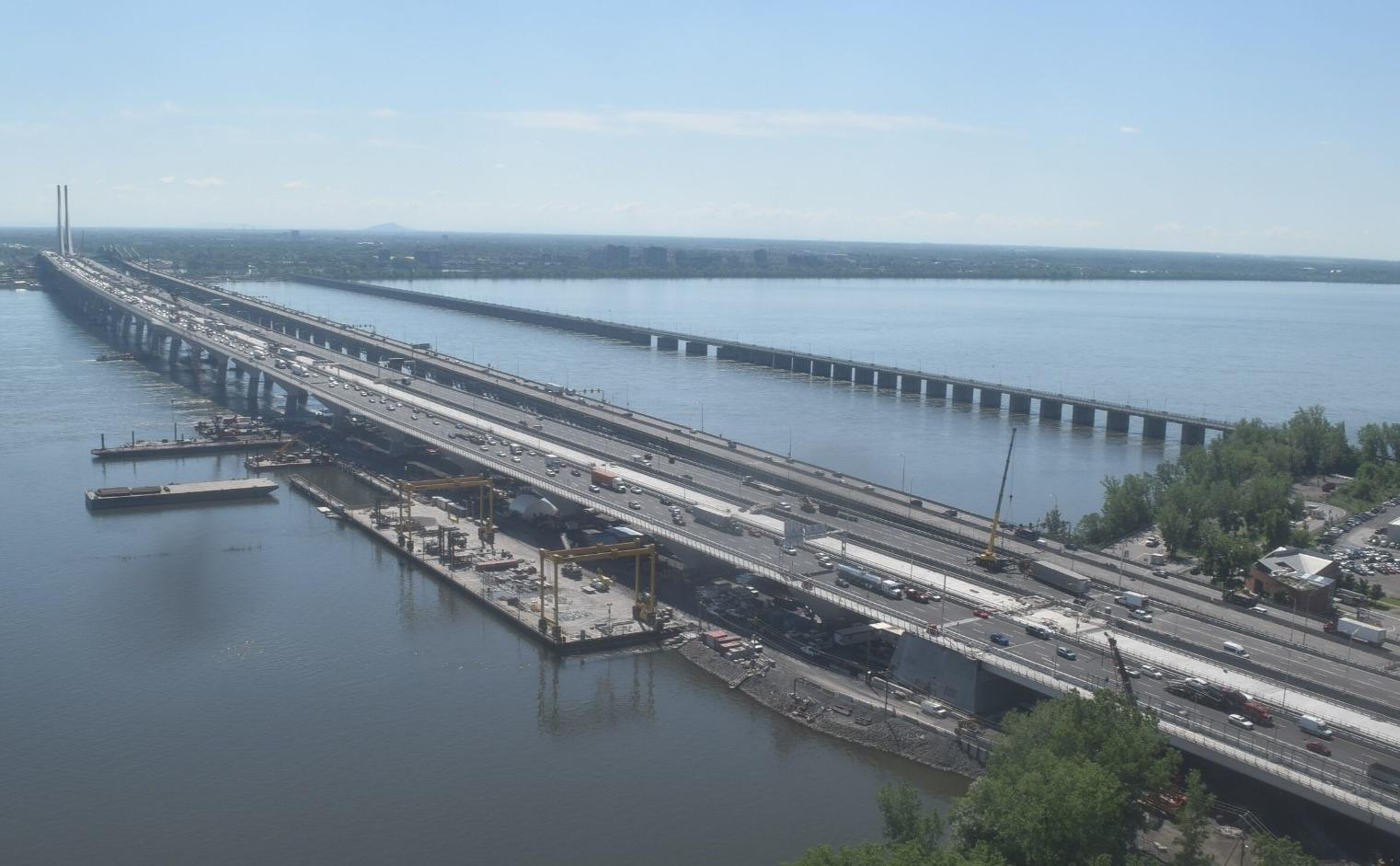 Montreal's Samuel de Champlain Bridge bridge opened for northbound traffic - aerial view. Photo Courtesy: Infrastructure Canada