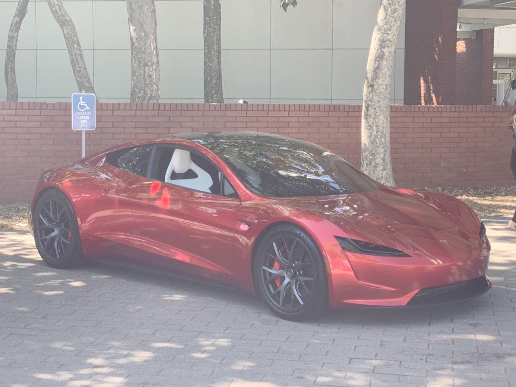 Red Tesla Roadster at the 2019 Tesla Shareholder Meeting - Front Side View