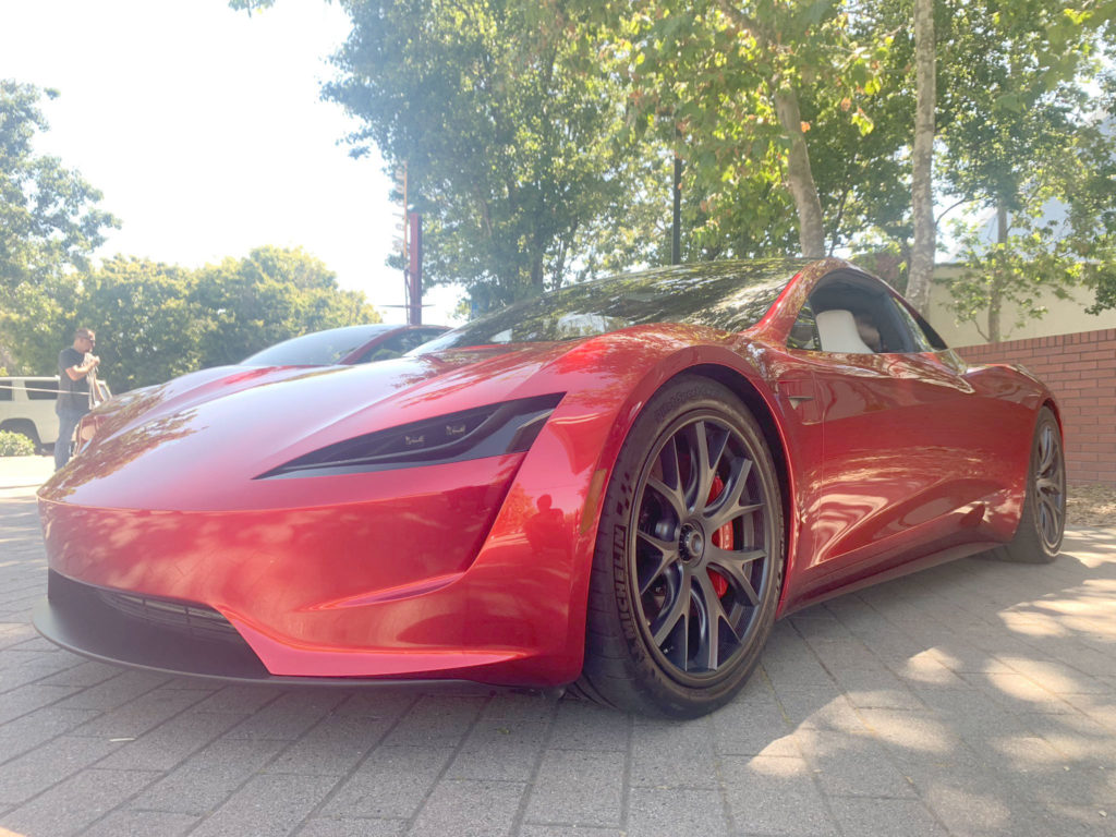 Red Tesla Roadster at the 2019 Tesla Shareholder Meeting - Front Right Closeup