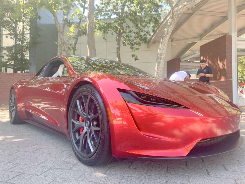 Red Tesla Roadster at the 2019 Tesla Shareholder Meeting - Front Left Closeup