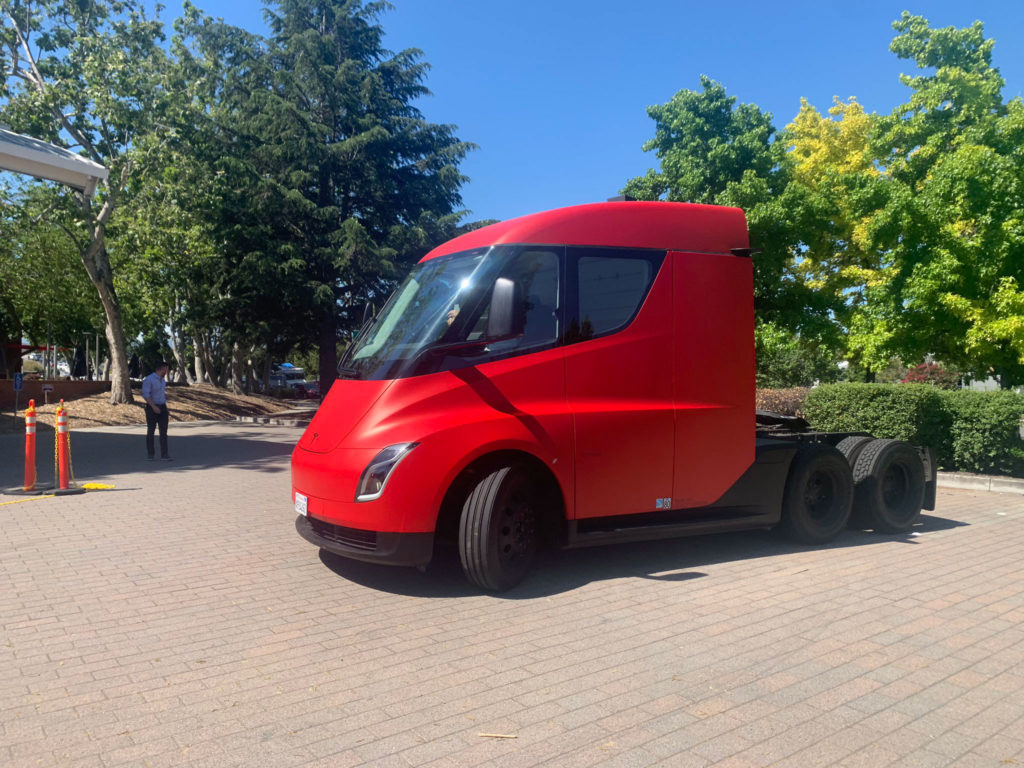 Red Tesla Semi Truck at the 2019 Tesla Shareholder Meeting - Side View Profile from a little distance