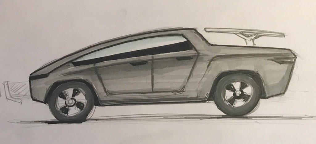 Tesla Pickup Truck sketch drawn by a Tesla/Elon Musk fan