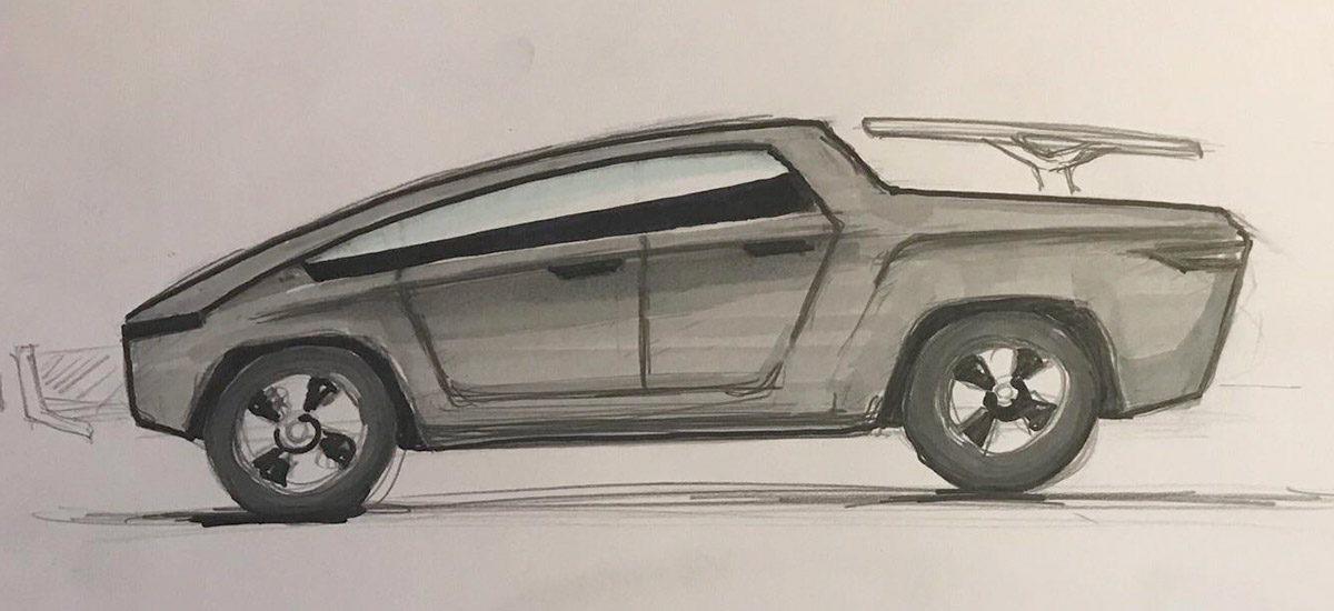 Elon Musk fan draws the under $50k Tesla Pickup Truck sketch and it's awesome!