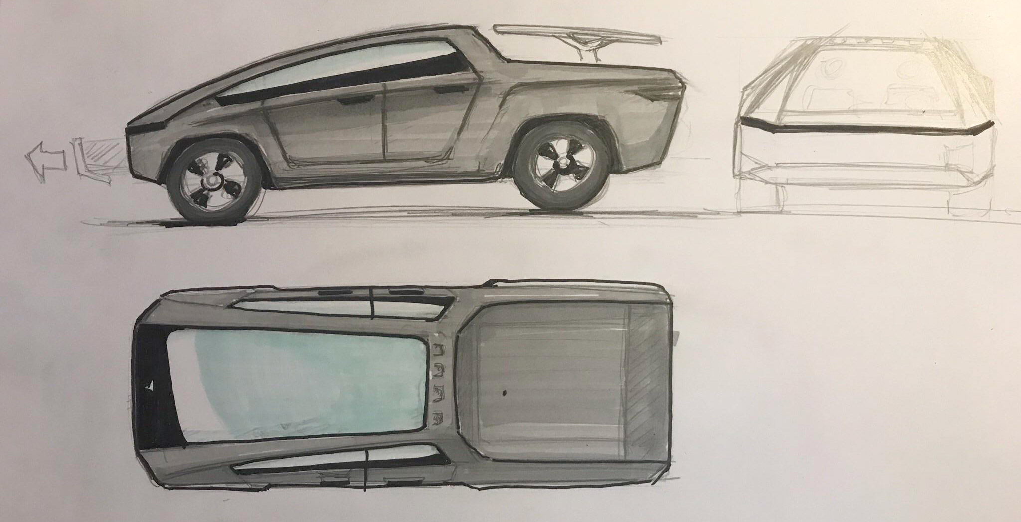 Tesla Pickup Truck sketch with front, side and roof views.