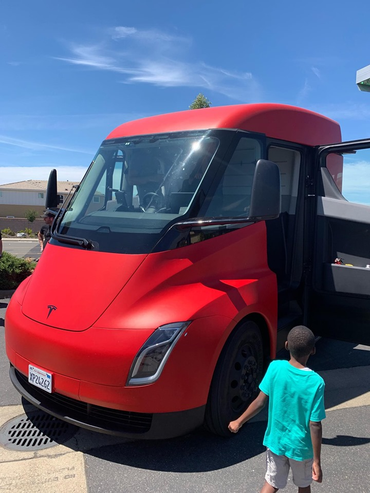 Red Tesla Semi Truck spotted in Sacramento, CA. Front Side View