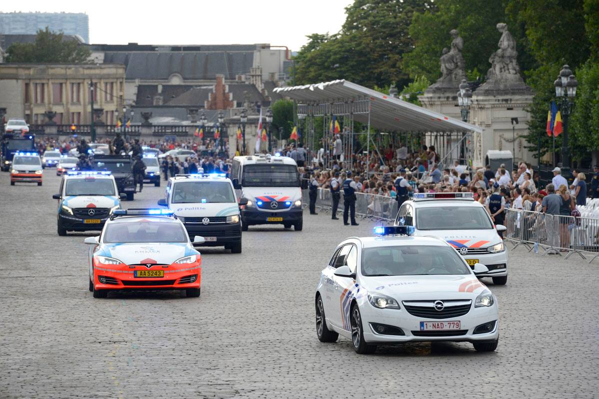 Belgian Federal Police's Tesla Model S part of the 2018 National Day parade outside the Royal Palace.