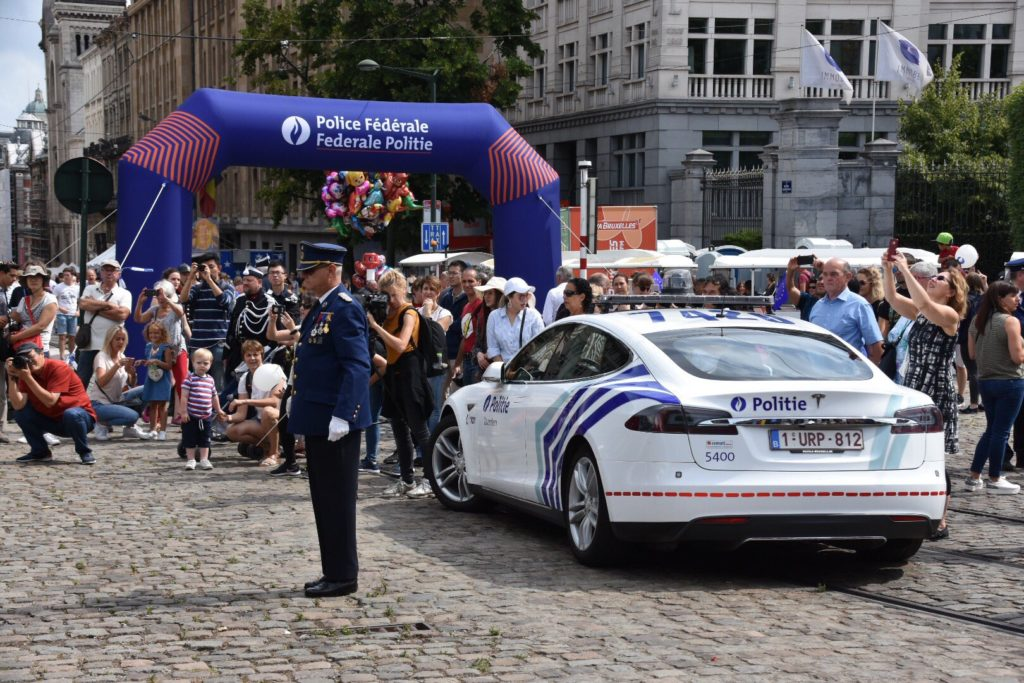 Belgian Federal Police - Tesla Model S at the 2019 National Day celebrations. Rear view.