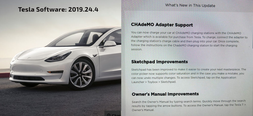 Tesla Model CHAdeMO support enabled by 2019.24 Tesla Software Update.