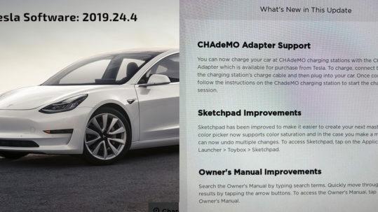 Tesla Model CHAdeMO support enabled by 2019.24 Tesla Software Update.