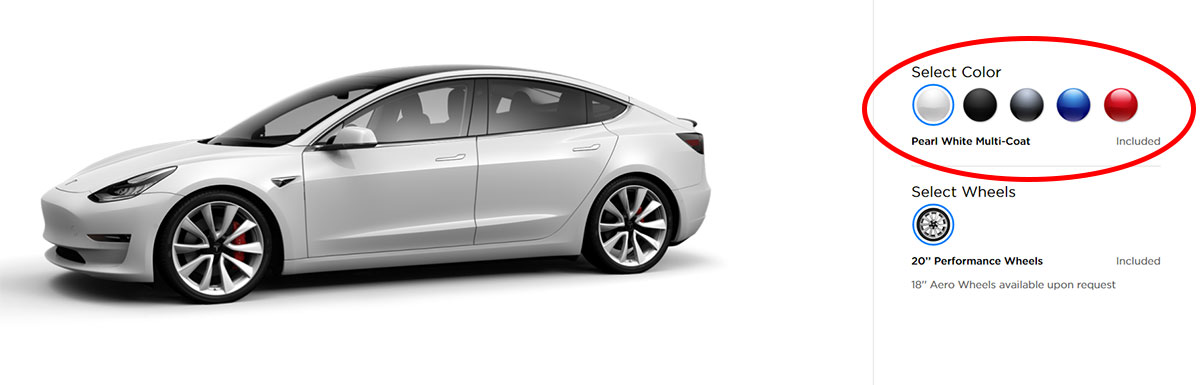 Pearl White Multi-Coat is now the standard color for Tesla Model 3.