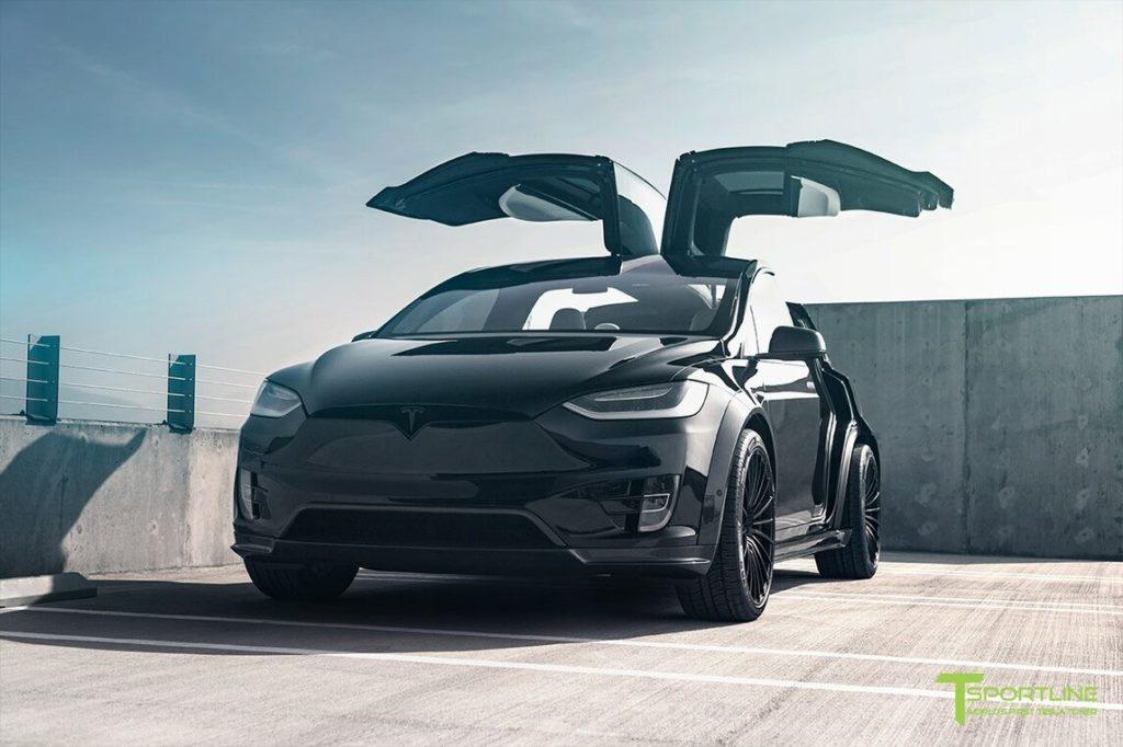 TSportline Black Tesla Model X - Falcon wing doors open