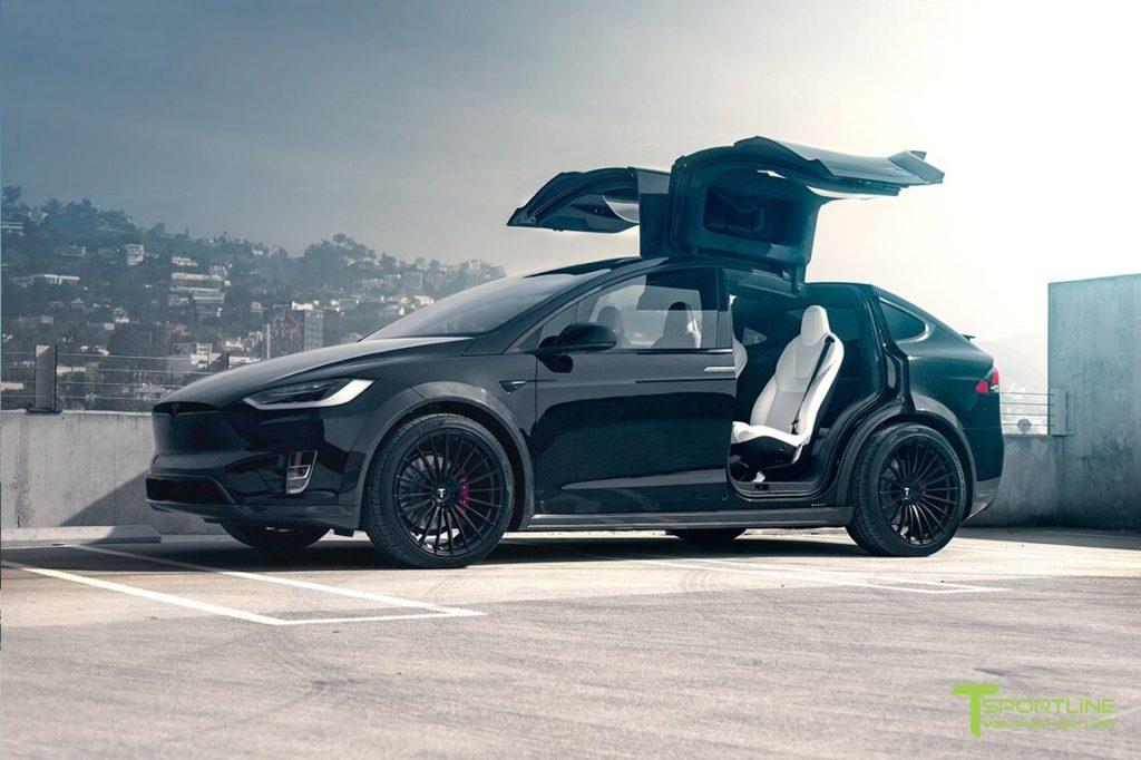 TSportline Black Tesla Model X - Falcon wing doors open, side view