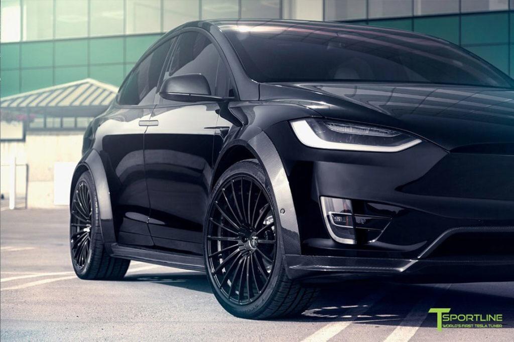 TSportline Black Tesla Model X - Front Closeup
