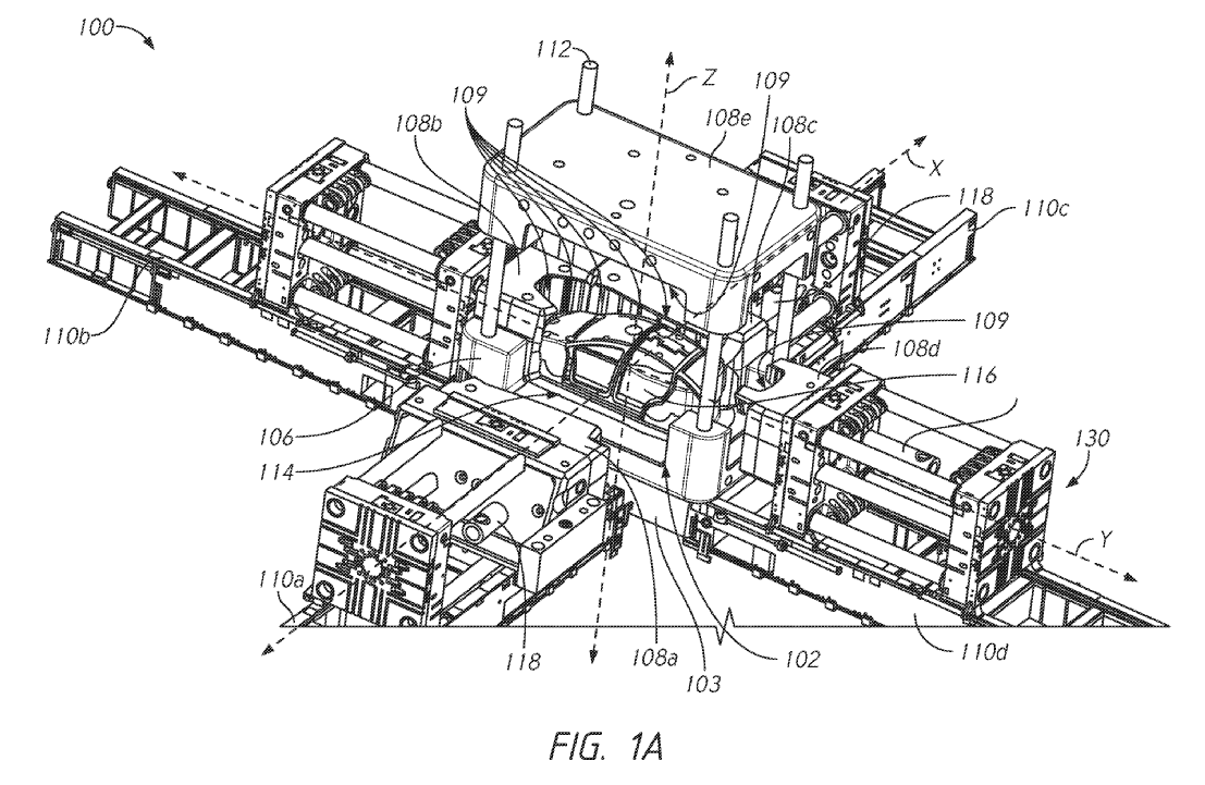 Tesla Unibody Casting Patent: FIG. 1A is an illustration of a multi-directional casting machine for a vehicle frame configured in accordance with an embodiment of the present disclosure.
