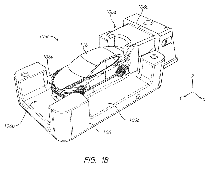 Tesla Unibody Casting Patent: FIG. 1B is an illustration of a cover die of the multi-directional casting machine of FIG. 1A configured in accordance with an embodiment of the present disclosure.