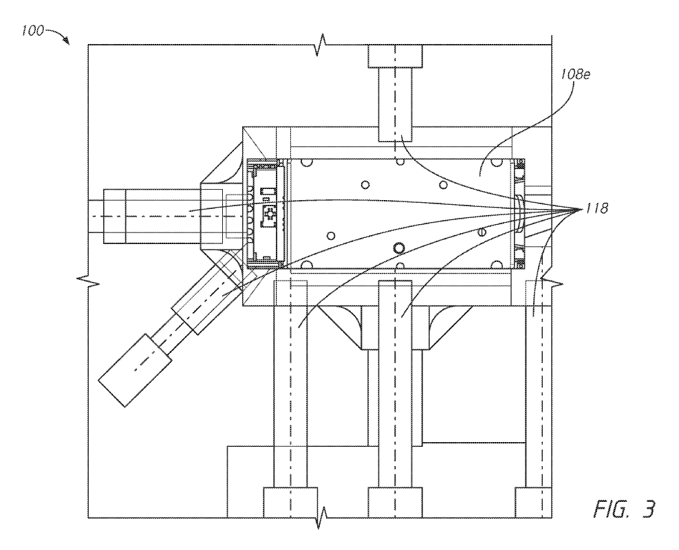 Tesla Unibody Casting Patent: FIG. 2 is an illustration of a multi-directional casting machine for a vehicle frame configured in accordance with another embodiment of the present disclosure.