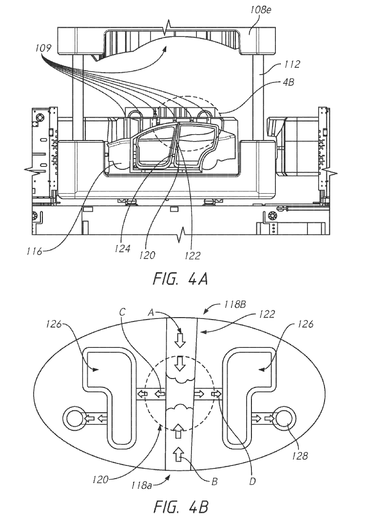 Tesla Unibody Casting Patent: FIG. 4B is a close-up view of a portion of the casting machine of FIG. 4A illustrating certain features of the casting machine in accordance with an embodiment of the present disclosure.