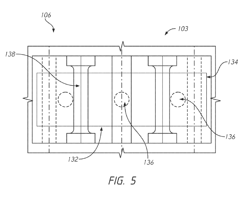 Tesla Unibody Casting Patent: FIG. 5 is a cross-sectional view of a central hub of the multi-directional casting machine of FIG. 1A configured in accordance with an embodiment of the present disclosure.