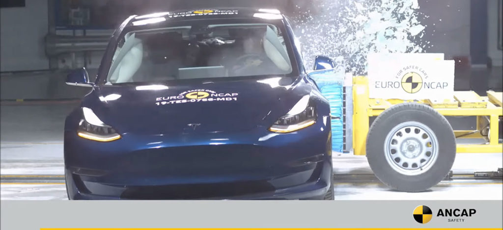 Tesla Model 3 in a side impact crash test by the Australian NCAP, scores perfect 5-stars in overall tests.