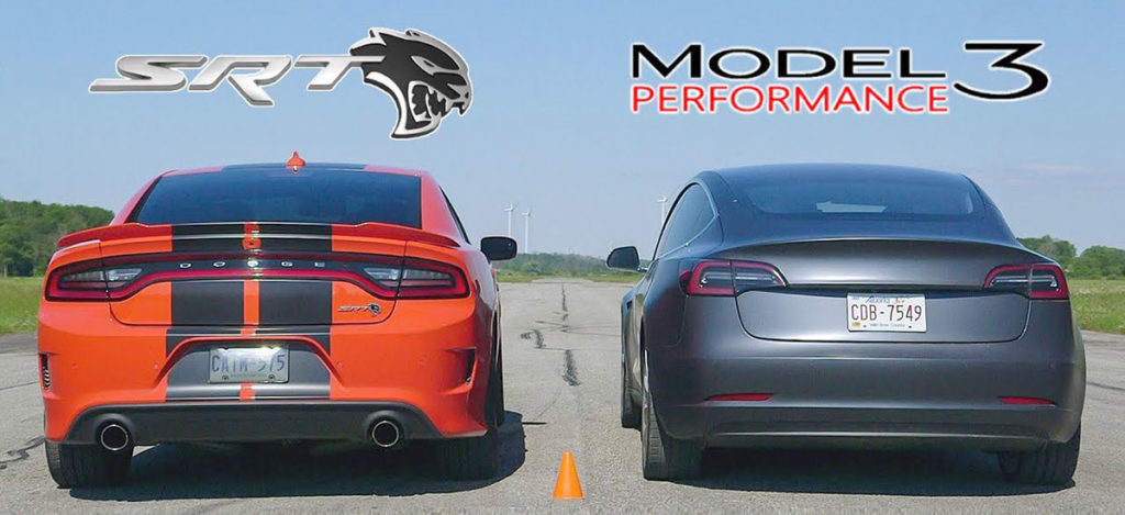 Tesla Model 3 vs. Dodge Charger SRT Hellcat Drag Race