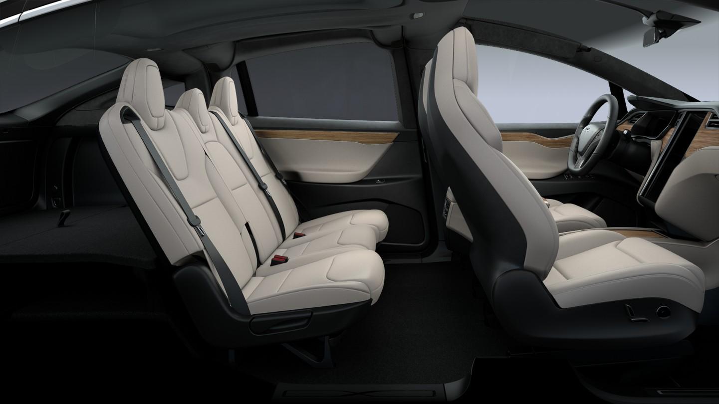 Tesla Model X - 5 seat cream interior.