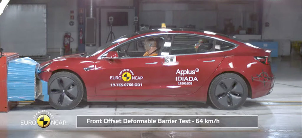 Tesla Model 3 Europ NCAP crash and safety tests video.