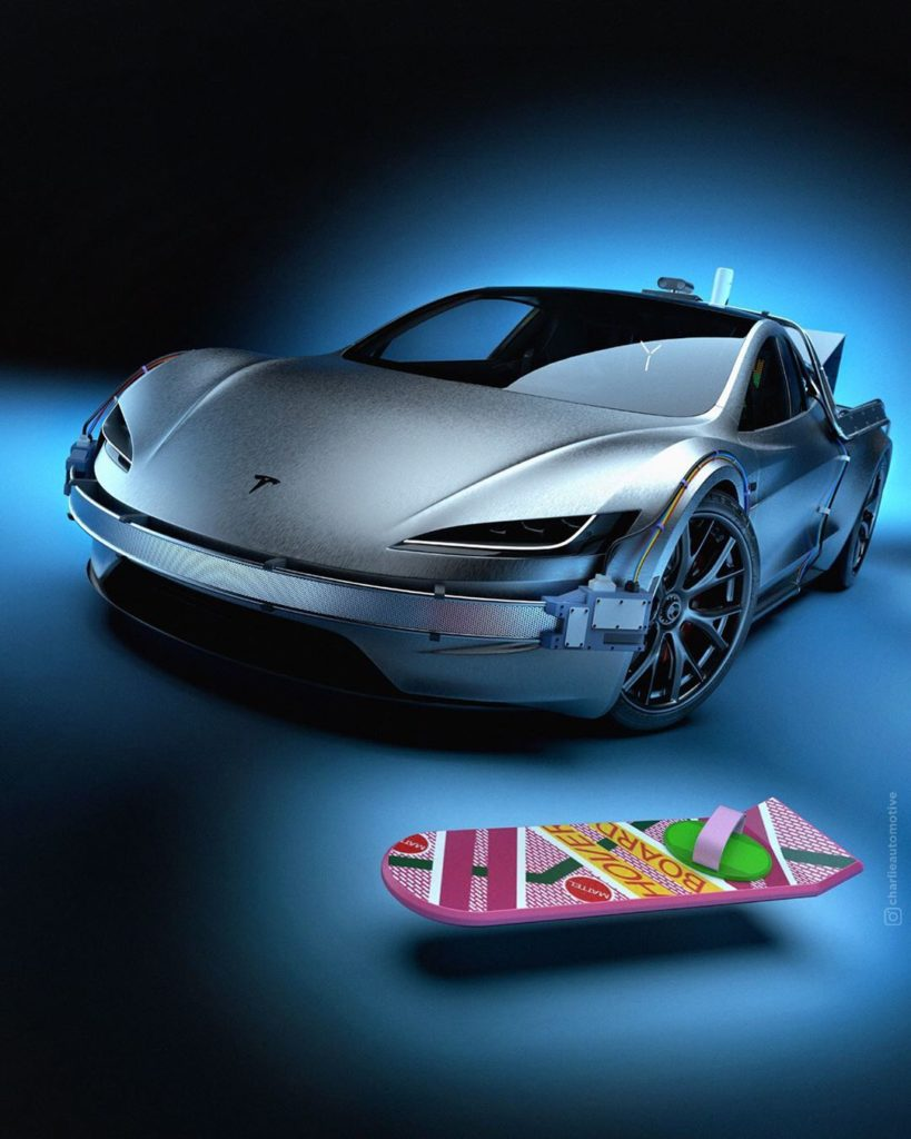Tesla Roadster Back To The Future/SpaceX art - a flying hoverboard from the classic movie also show.