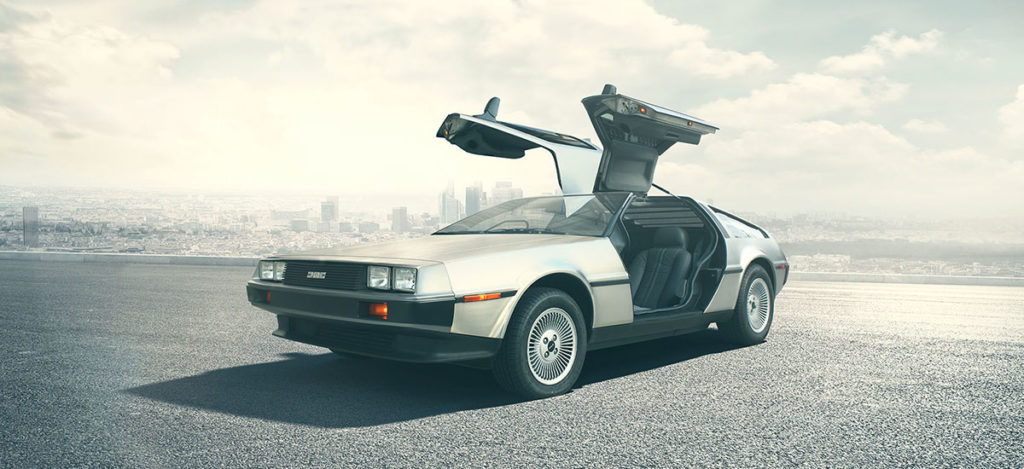 DMC DeLorean converted to an electric car of the future.