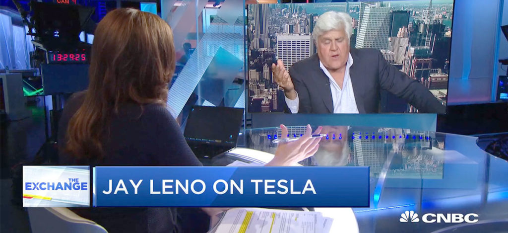 Jay Leno talking about the future of Teslas and Electric Vehicles on CNBC.