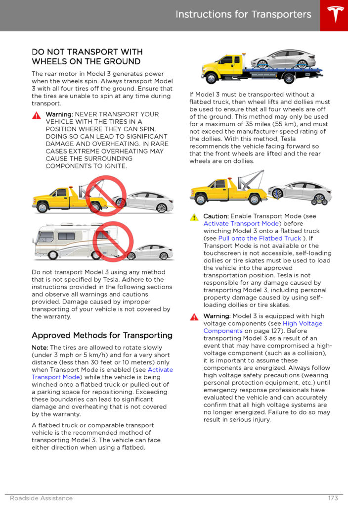 Tesla Model 3: Instructions for Transporters - Page 1.