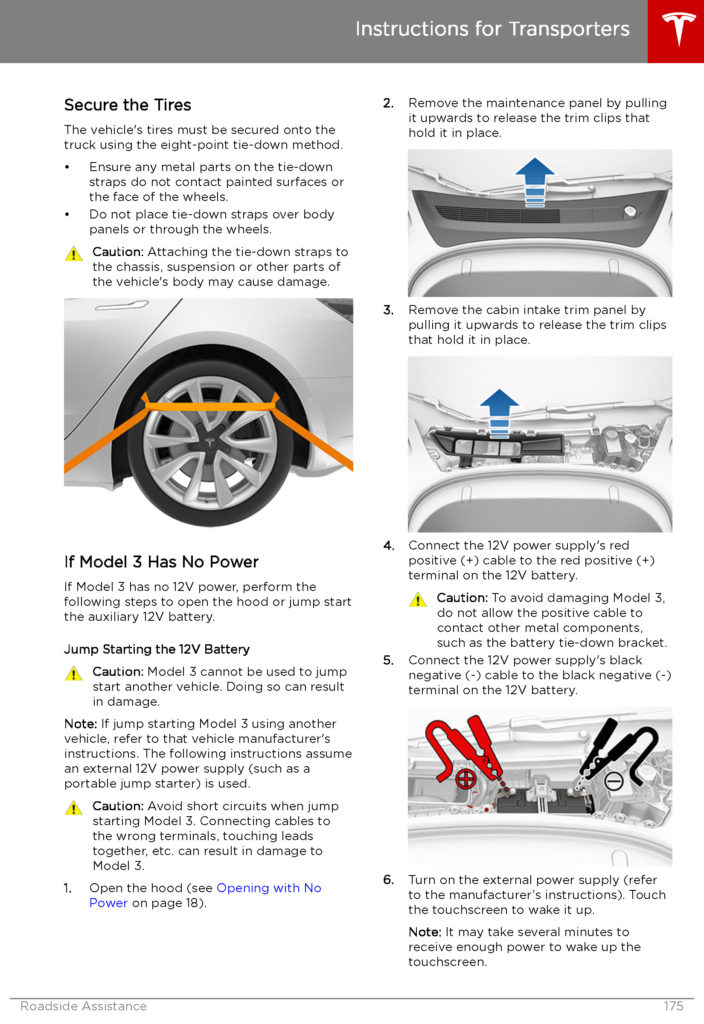 Tesla Model 3: Instructions for Transporters - Page 3.