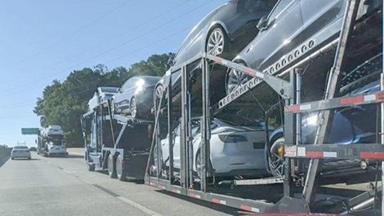 Tesla Model 3s spotted on a car carrier en route to the Port of Philadelphia