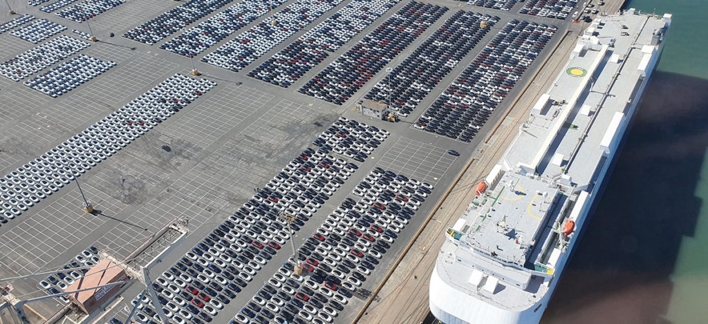 Thousands of RHD Tesla Model 3s waiting at the Port of San Francisco Pier 80.