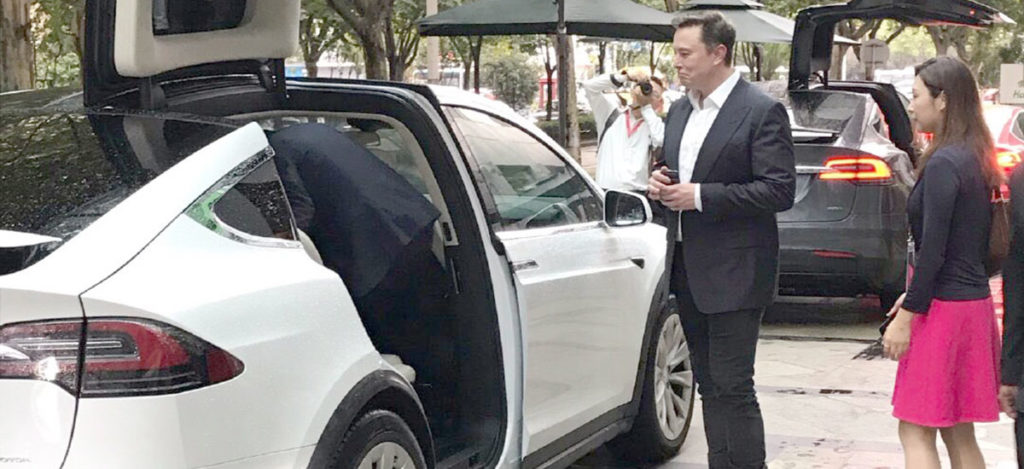 Elon Musk in Shanghai, China for Gigafactory 3 and World AI Conference.