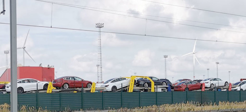 50 car carrier trailers left the Port of Zeebrugge, Belgium carrying Tesla Model 3s for Europe.