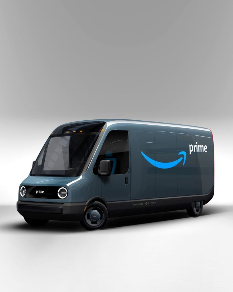 Amazon's fully electric delivery van powered by Rivian (concept photo).