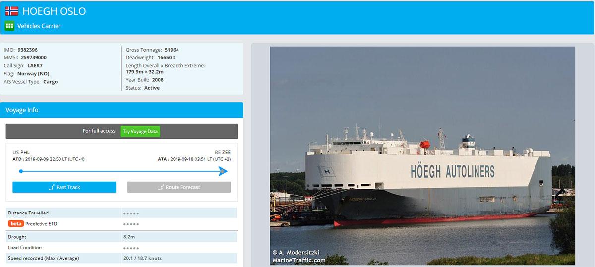 Vehicle transport vessel 'Hoegh Oslo' carrying RHD Tesla Model 3s reaches the Port of Zeebrugge, Belgium from the Port of Philadelphia, USA