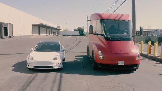 Tesla Semi Truck at Yandell's trucking and warehousing facility, along with a Tesla Model 3.