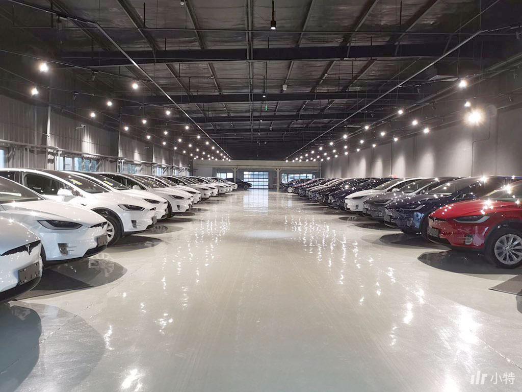 Tesla Model X inventory at the Tesla Beijing delivery center.