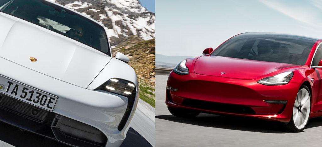 Porsche Taycan vs. Tesla Model 3 comparison