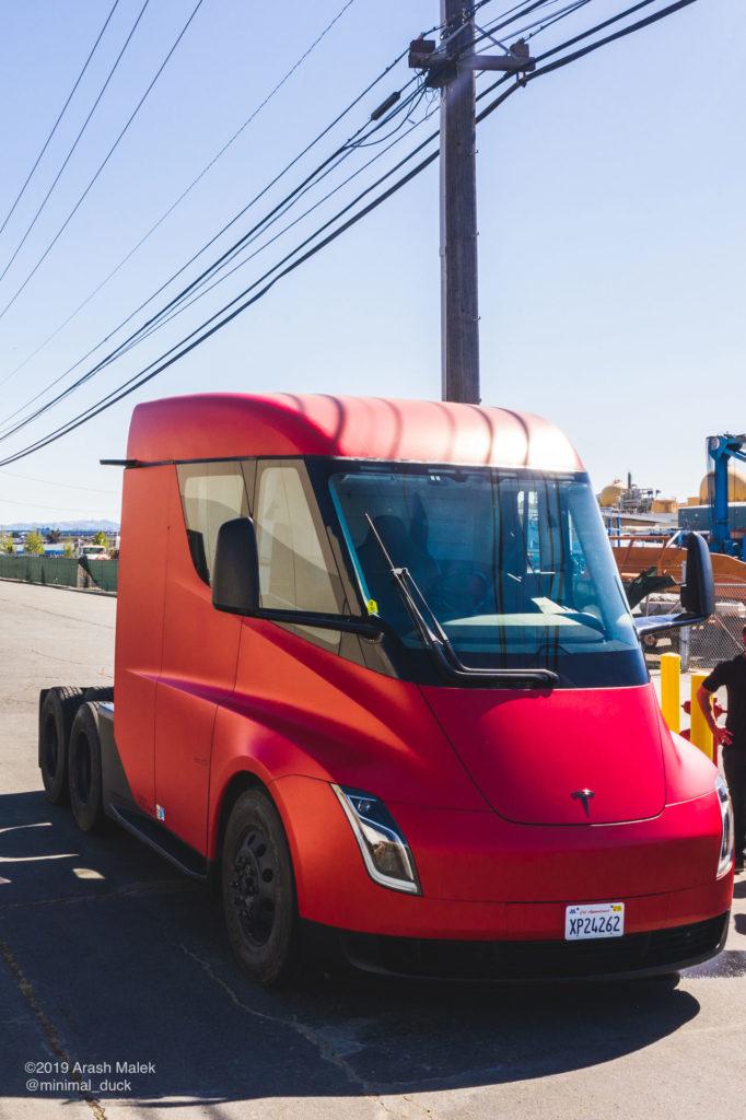 Tesla Semi at Yandell Logistics, CA. Front side view photo.