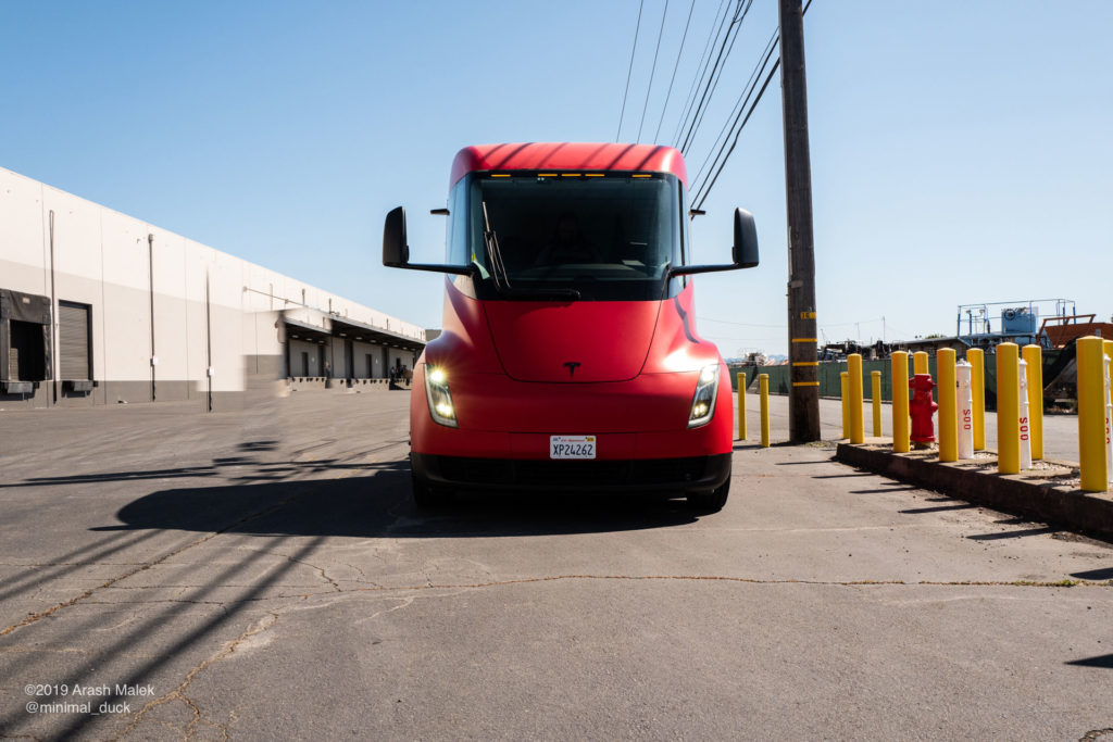 Tesla Semi at Yandell Logistics, CA. Front view photo from a distance.