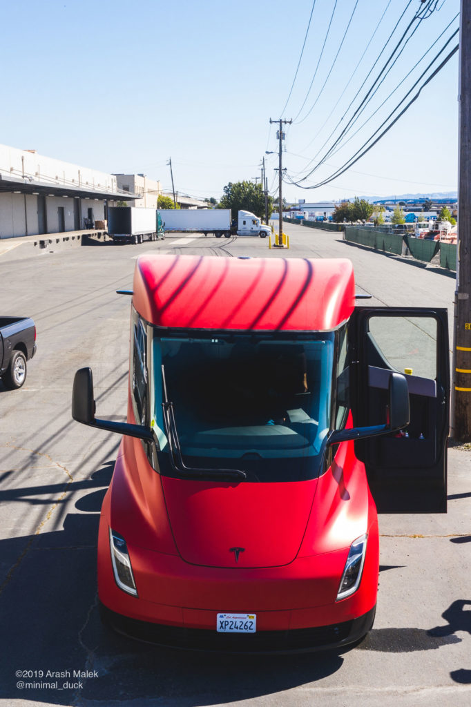 Tesla Semi at Yandell Logistics, CA. Front view photo.