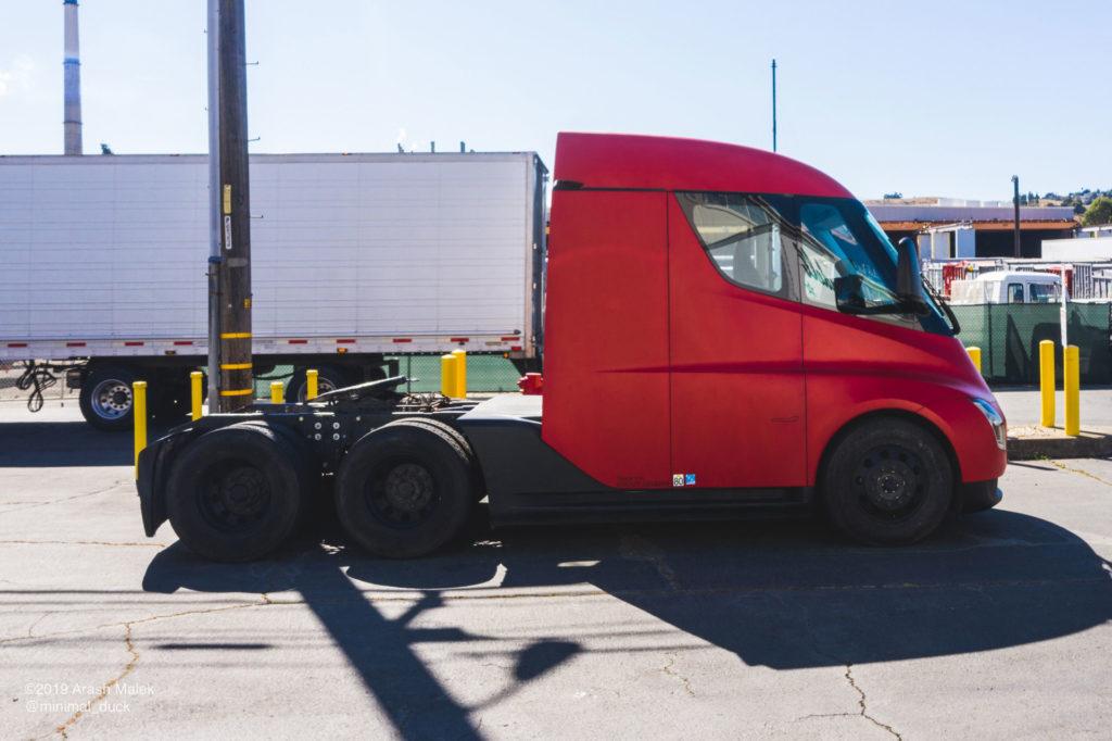 Tesla Semi at Yandell Logistics, CA. Side view profile photo.