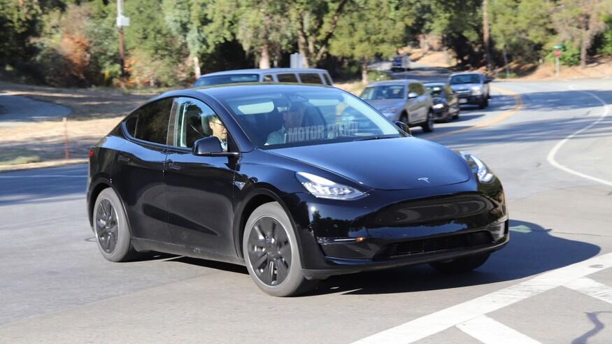 Black Tesla Model Y - front view
