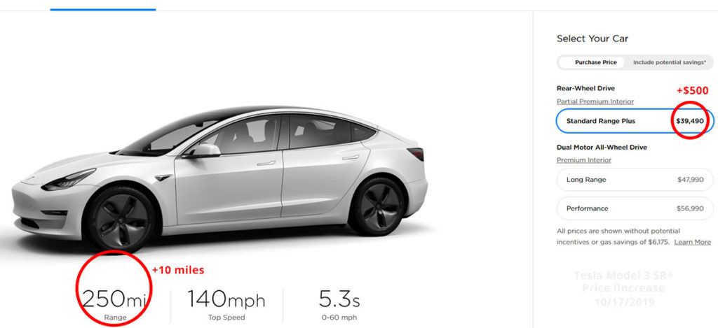 Tesla Model 3 Standard Range Plus price and range increase, Oct 2019.